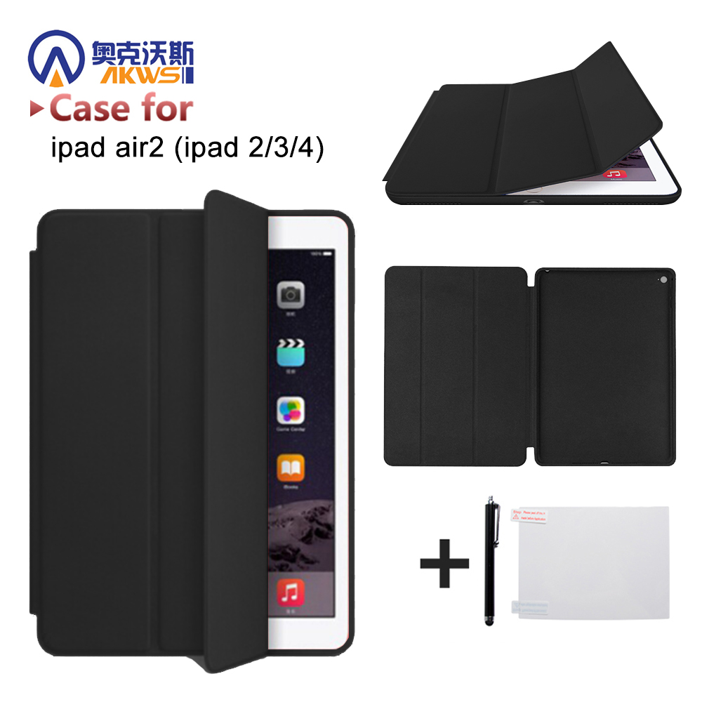Original 1:1 cover case for Apple ipad air 2 slim cover for iPad Air 2 6 Gen smart cover case for Ipad 2/3/4 tablet+free gift