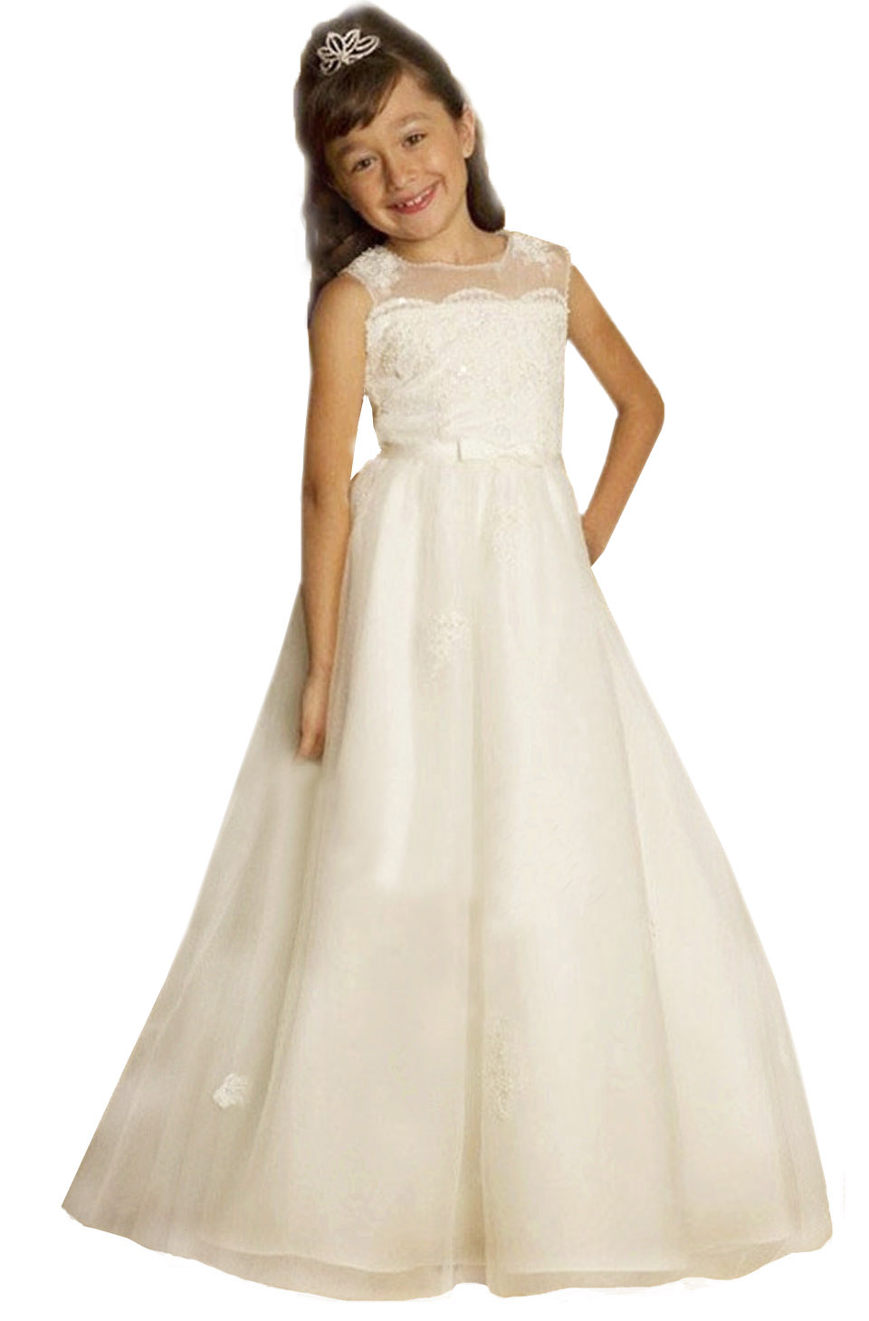 New Flower Girls Dresses For Wedding Gowns Lace Girl Birthday Party Dress First Communion Dresses For Girls 2017 new arrival flower girls dresses for wedding white girl birthday party dress fashion first communion dresses with sashes
