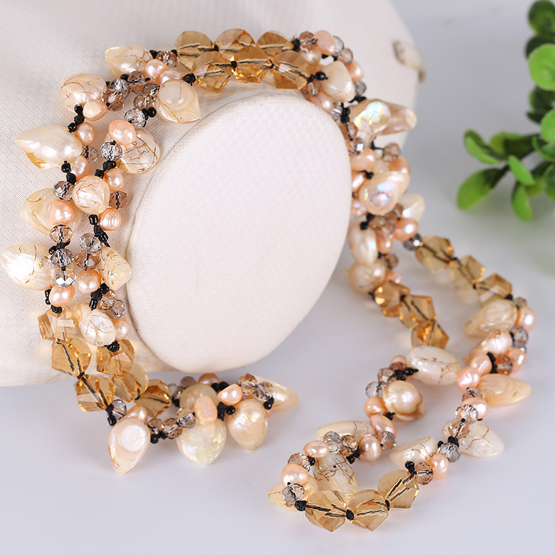 Necklace female Korean simple temperament freshwater pearl Austrian crystal long sweater chain Necklace female Korean simple temperament freshwater pearl Austrian crystal long sweater chain