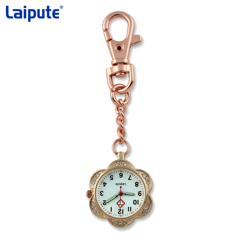 Crystal Flower Shape Clip-on Fob Quartz Brooch Hanging Nurse Watch glow in the dark Women Full Steel Pocket Watch relogio Clock essence es 6212me 330 essence