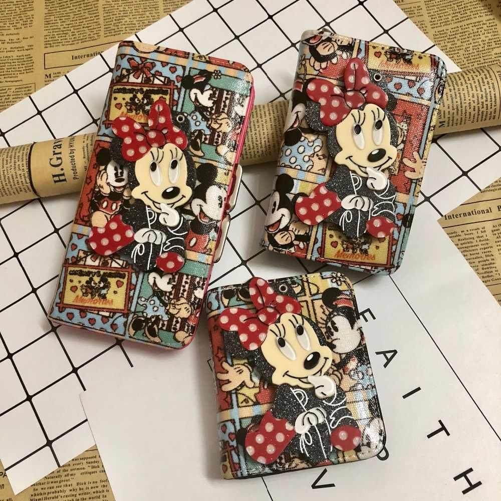 Disney Микки мультфильм женщин ПУ кошелек монета с зеркалом леди сумка плюшевая сумка держатель для хранения клатч карты девушка сумка монета ID кошелек