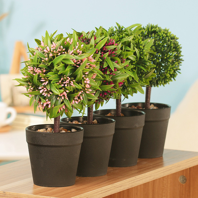 mini fake bonsai flower plants potted indoor artificial topiary tree