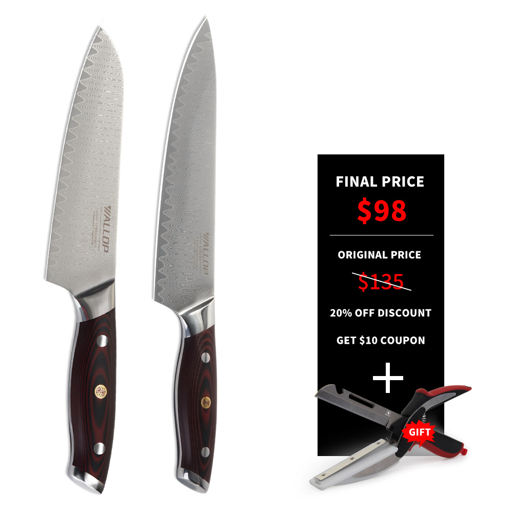 WALLOP kitchen knives stainless steel two piece set chef knife +santoku knife damascus japanese kitchen knives set cooking tools