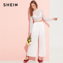 83e470f430 SHEIN Sexy White Flare Sleeve Lace Sheer Crop Top Without Bra and Palazzo  Wide Leg Pants Set Women Spring Solid Two Piece Set