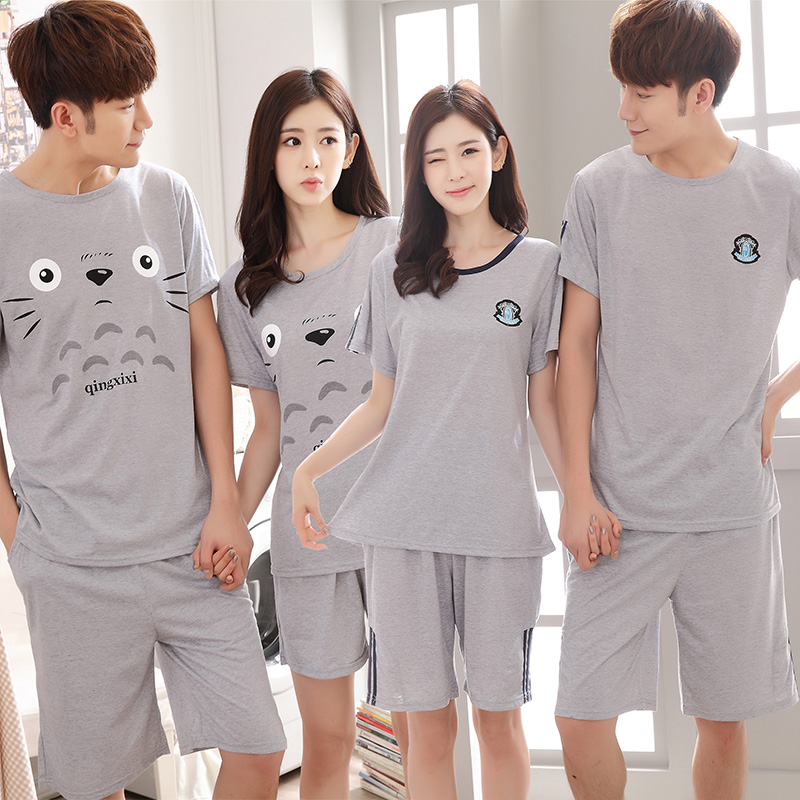 Couples Cute Cartoon Short Sleeve Pajama Sets For Women 2019 Summer Thin Shorts Sleepwear Men Homewear Pijama Mujer Home Clothes