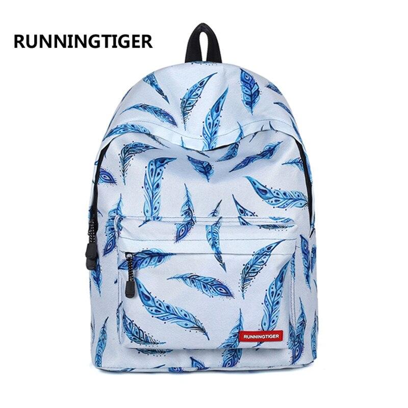 2018 Blue Feathers Printing Girl Casual Teenager Schoolbag Women Laptop Backpack Travel Bag Rucksack Gift Bag Daypack Mochila ...