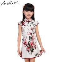 ActhInK 2017 New Girls Summer Cheongsam Dress Children Tang Wash Painting Dresses Brand Girls Chinese Style