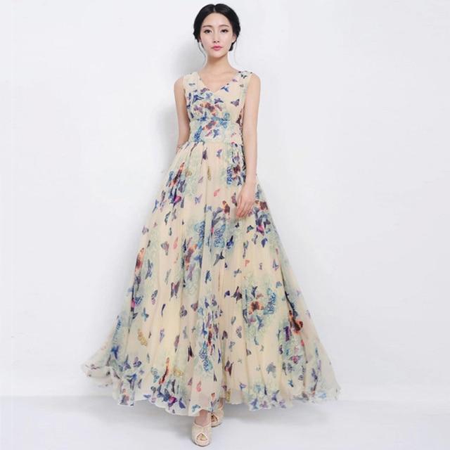 e332c172a249 Summer Bohemian Sleeveless Dresses Ladies Chiffon Dress Floral V-neck Ankle-Length  Women Dress Brand Vestidos