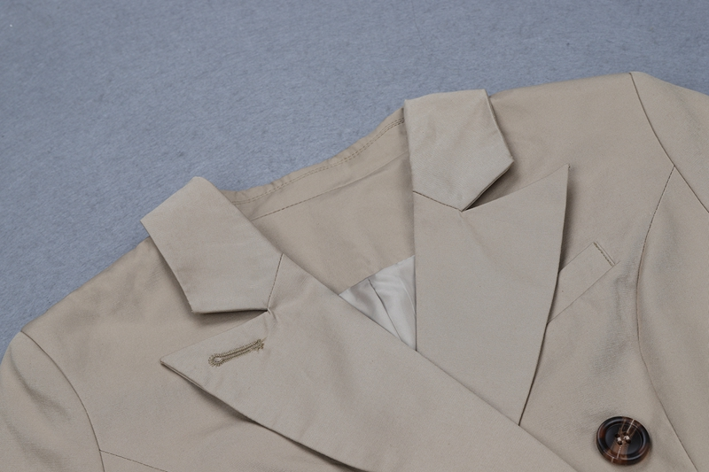 Formelle Longues Apricot cou V Double Hiver Nouvelle Breasted Blazers Beateen 2018 Manches À Mode Bouton Automne x6Zwnqv1