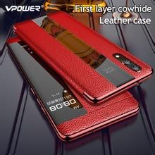 Funda de cuero genuino de lujo para Huawei P20 Pro, funda P20 Smart View, funda con tapa de cuero para Huawei P 20 Pro, funda protectora