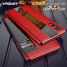 Luxuoso Estojo De Couro Genuíno Para Huawei P20 Pro Caso P20 Smart View Flip Caso de Couro Para Huawei P 20 Pro tampa Do protetor