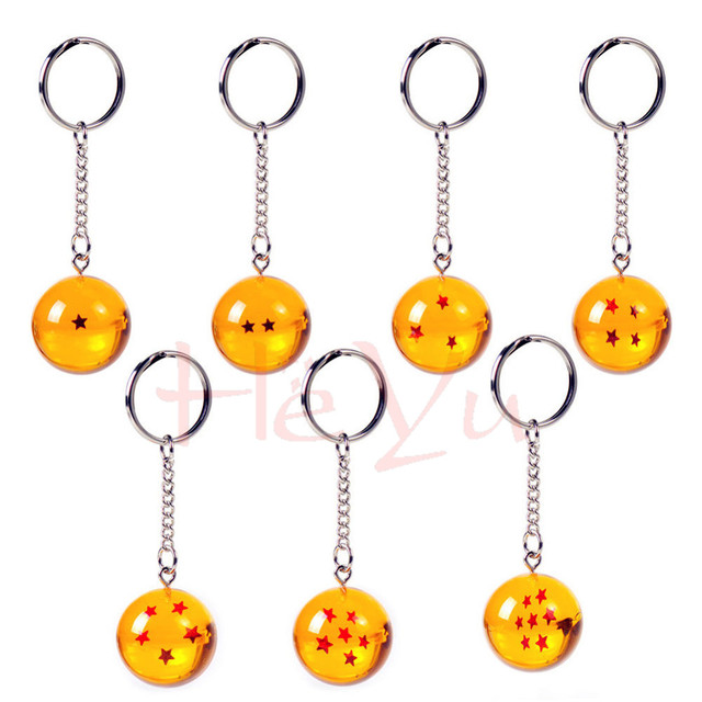 Dragon Ball Z Keychain Yellow Crystal Balls 1-7 Stars
