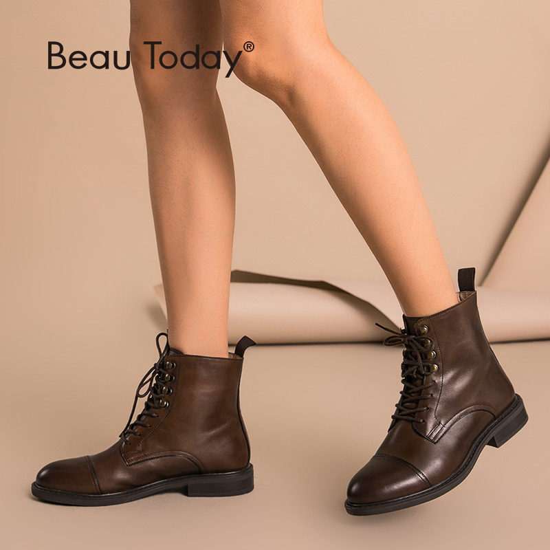 BeauToday Women Ankle Boots Genuine Cow Leather Lace Up Round Toe Top Quality Autumn Winter Ladies