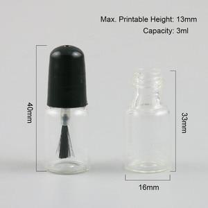 Image 2 - 100pcs ריק לק בקבוקי זכוכית עם לבן שחור מכסה 3ml קטן זכוכית לק מיכל עם מברשת כובע