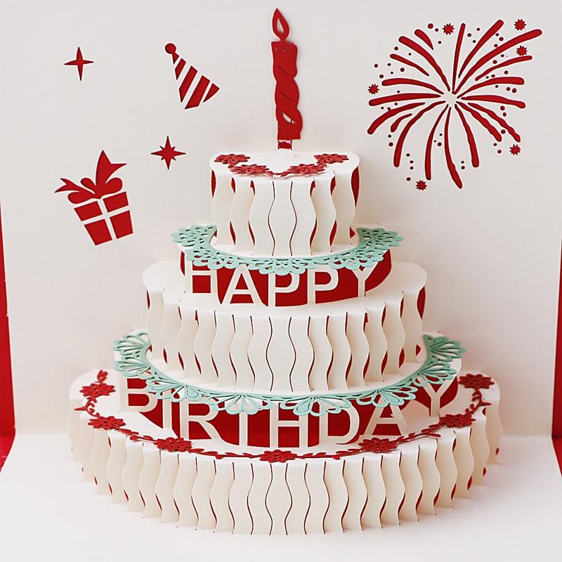 2017 Handmade Greeting 3d Cards Birthday Cake For Christmas Birthday