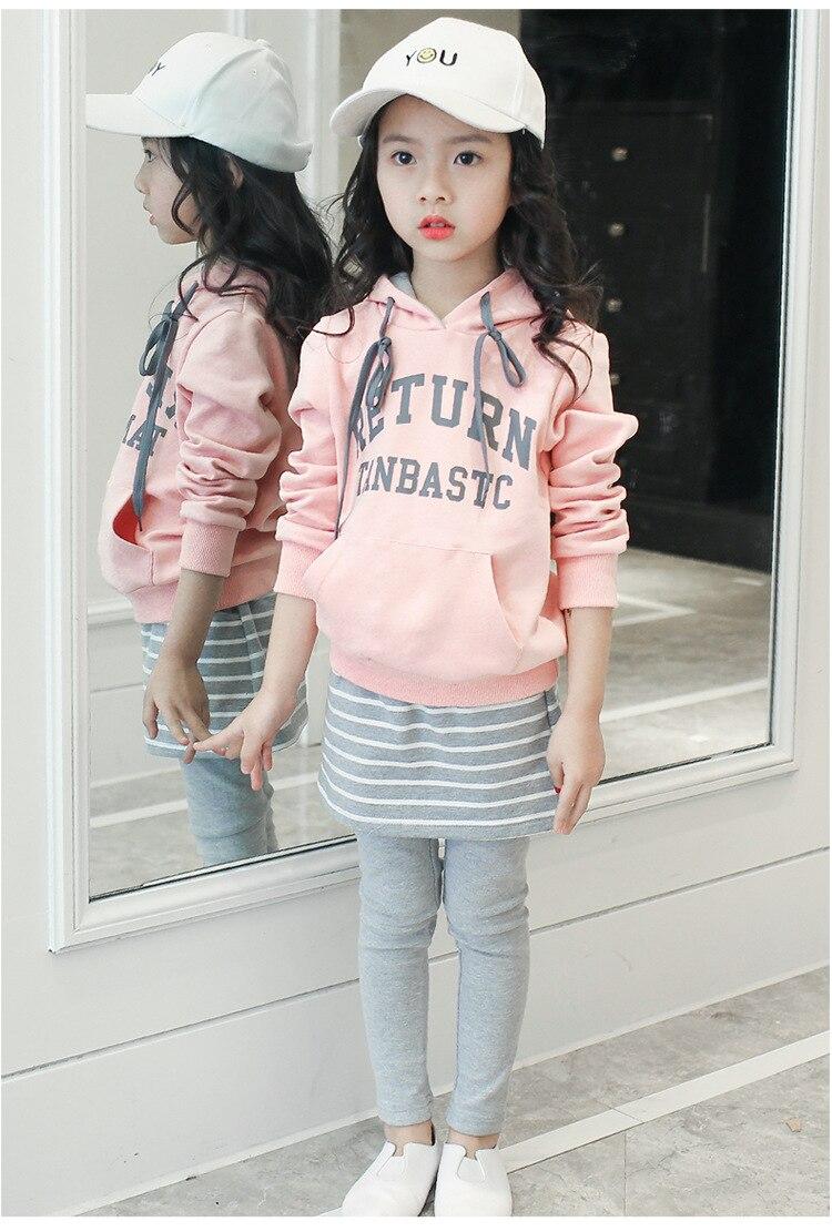 Vestuário infantil 2019 novos esportes das meninas e terno do lazer com capuz longo-sleeved camisa listrada + saia pantss bebê roupas de menina