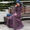 2017 la primavera y el otoño de moda a rayas a cuadros ultra larga dress o cuello delgado de la cintura de la vendimia formal dress manga completa mujer vestidos