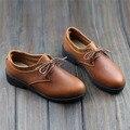 Sapatas da mulher 100% Senhoras De Couro Autêntico Sapatos Baixos Mocassins Marrons Mulheres Sapatos rodada para Lace up Calçado Feminino (866-2)