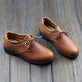 Woman Shoes 100% Authentic Leather Ladies Flat Shoes Brown Moccasins Women Shoes round to Lace up Female Footwear (866-2)