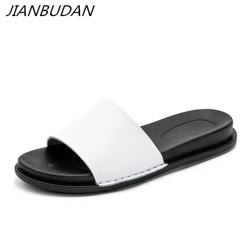 JIANBUDAN/ Womens summer new casual slippers Flat comfortable beach shoes fashion Non-slip bottom Slides
