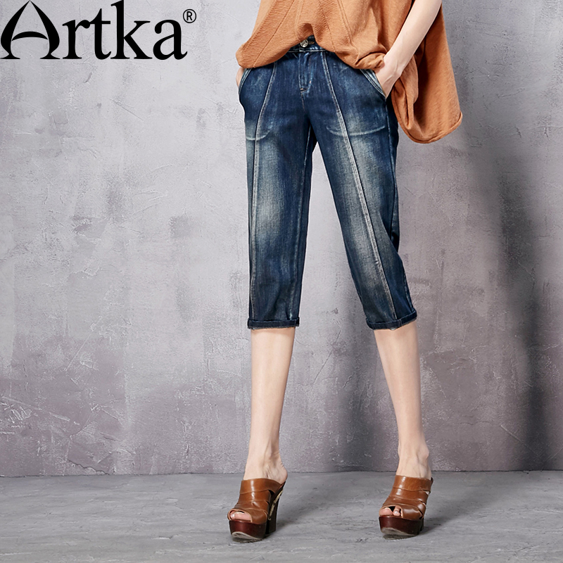 ФОТО Artka Women's Spring New Comfy Washed Knee Length Jeans Vintage All-match Straight Jeans With Pockets KN10863C