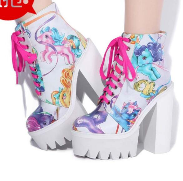 New winter women CowHide printing boots high platform super chunky heel lace up ankle women boots woman platform high heel boots new women shoes square high heel platform boots woman tassel women boots black yellow beige gray ankle boots