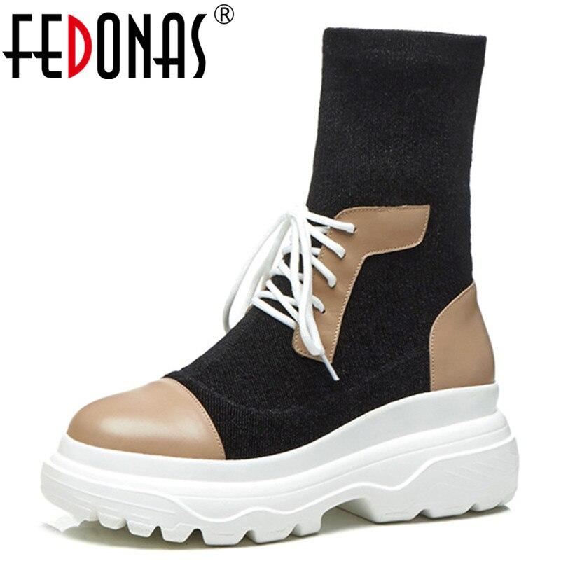 Fedonas Sexy Hauts Court 1 Mode Partie Coins noir Femelle Bottines Femmes Nouveau Bottes New Extensibles Chaussettes Mariage De Talons Club qqgrz