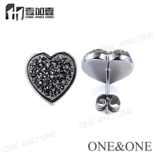 ФОТО heart 10mm agate drusy druzy raw natural gemstone gem stud earrings for women gold/platinum/rose gold plated free shipping