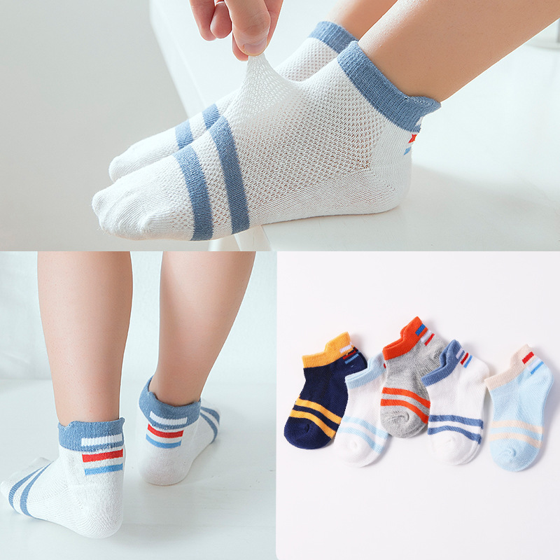 20 pairs spring and summer children's socks, pure cotton baby socks, children's boats, socks, mesh children's socks. цена