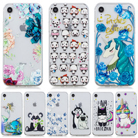 100pcs Flower Silicon Phone Case For iPhone 7 8 Plus XS Max XR Cute Animals Cases For iPhone X 8 7 6 6S Plus 5 SE Soft TPU Cover