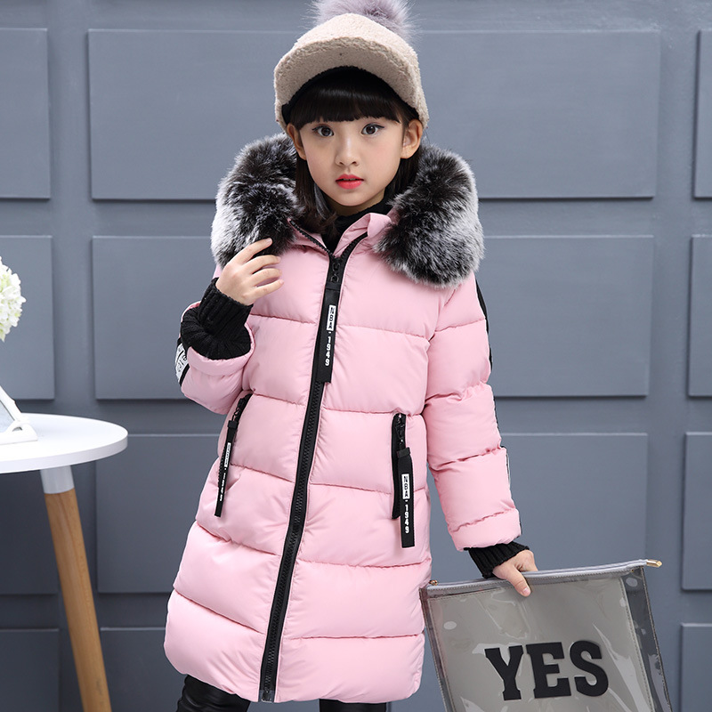 Girl Thickening Hooded Warm Jacket Newest 2018 Winter New Cotton Jackets Girls Fashion Fur Collar Letters Coats kids clothes a15 girls jackets winter 2017 long warm duck down jacket for girl children outerwear jacket coats big girl clothes 10 12 14 year