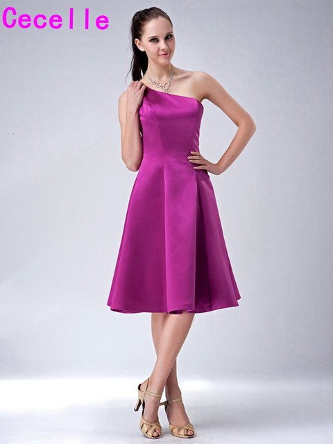Purple Short Bridesmaid Dresses Simple A Line Knee Length One Shoulder Wedding  Party Dress Country