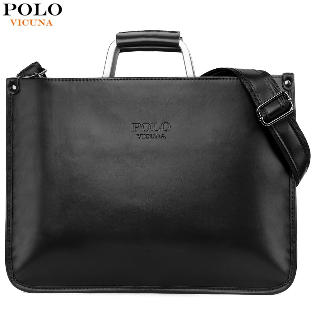 VICUNA POLO Cool Ultra-thin Business Mens Document Bag Black Men's Leather Handbag With Metal Handle Sling Shoulder Bags