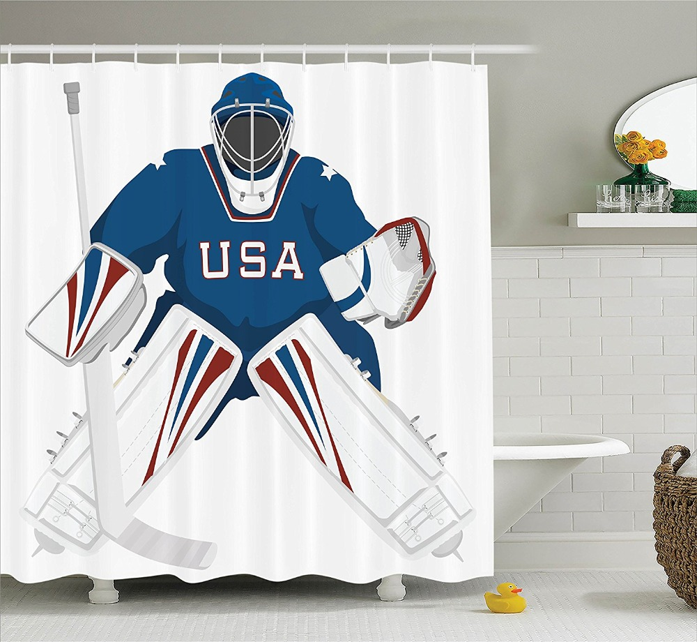 Sports Team USA Hockey Goalie Protection Jersey Sportswear Illustrations Design Print Polyester Fabric Bathroom Shower Curtain ...