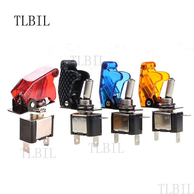 Auto Car Boat Truck Illuminated Led Toggle Switch With Safety Aircraft Flip  Up Cover Guard Red Blue Green Yellow White 12V 20A-in Switches from Lights