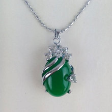 Women's Silver Necklace with Jade Pendant