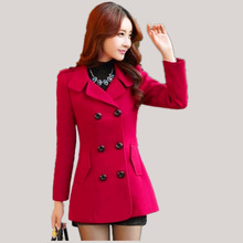 Women's Woolen Coats 2016 Winter Trench Coats Solid Plus Size Overcoat Double Breasted Turn-down Collar Slim Outerwear C8103