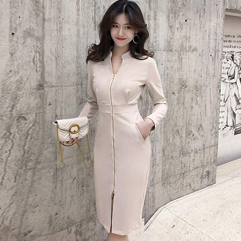 2019 printemps kaki crayon moulante femmes Vestidos solide genou-longueur Zipper taille haute brève Sexy travail robe