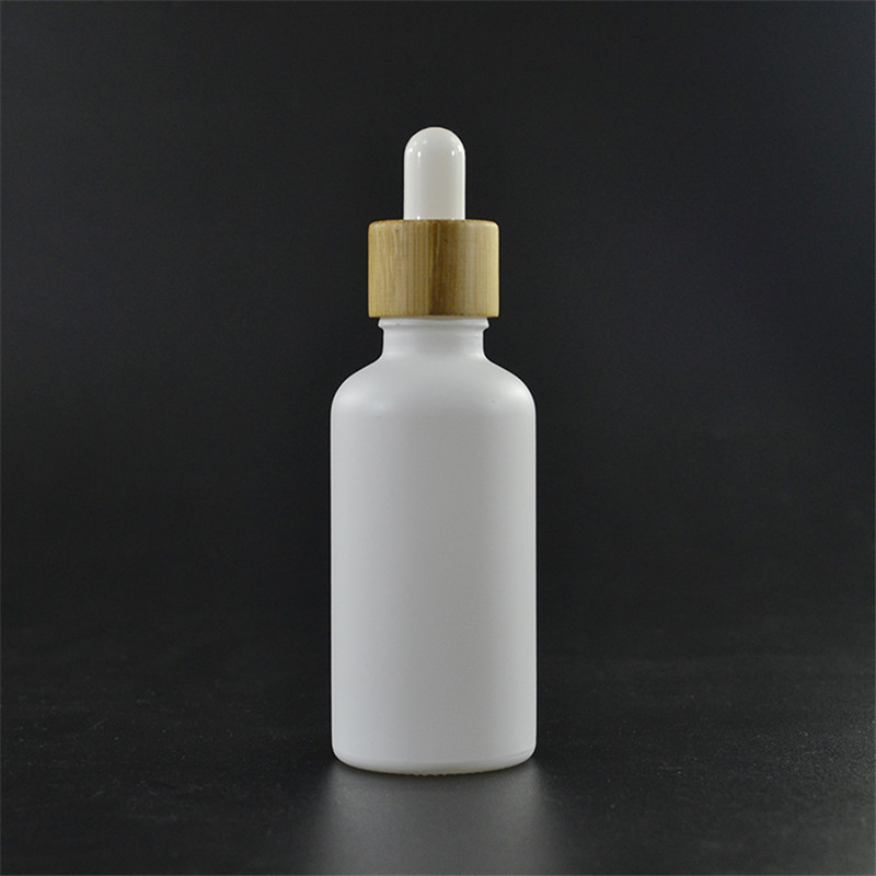 100pcs* 50ml Painting Frosted White Glass Dropper Bottle With Bamboo Cap For Essential Oil Glass Bottle Cosmetic Packaging