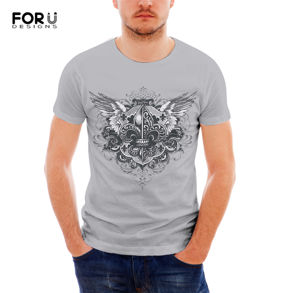 FORUDESIGNS Punk Skull T Shirt For Men Cool Customize Image Short Sleeve Teens Boys Top Tees 3D Printing T-Shirts 2019