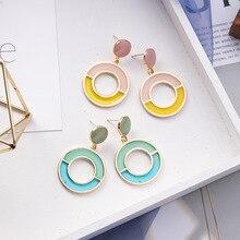 Europe America Hyperbolic Geometric Colorful Round Circle Fresh Woman Girls Dangle Drop Earrings Fashion Jewelry-MSE