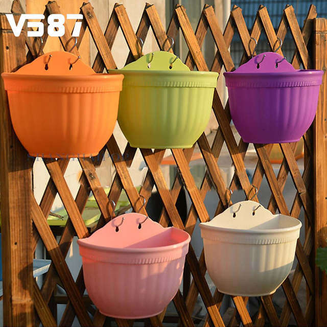 Buy colorful plastic flower pots wall for Decorative hanging pots