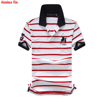 Good quality Summer Mens short sleeve brand horse striped polos shirts casual mens lapel polos fashion mens clothing slim tops