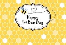 Laeacco Cartoon Bee Honeycomb Baby 1: a födelsedagsfest Fotobakgrund Anpassade fotografiska bakgrunder för fotostudio