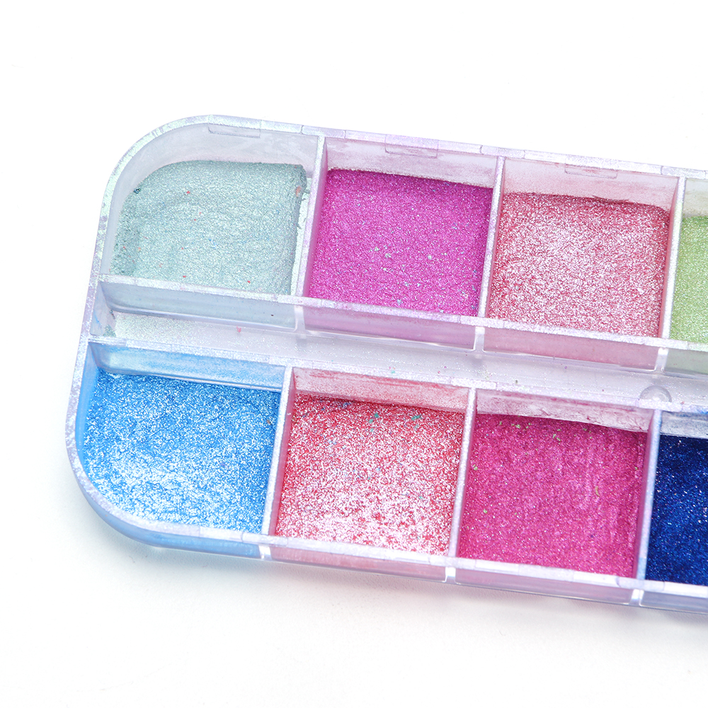 Image 5 - 12 Grid Glitter Nail Chrome Powder Dust Super fine Colorful Shimmer Flake Set Dipping Nail Art Pigment Decoration Manicure CHZGF-in Nail Glitter from Beauty & Health