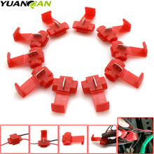цена на 10Pcs/set for Wire Crimp Terminals Connector Quick Splice Wiring Cable Clamp Red Connection Wholesale Maintenance Tools