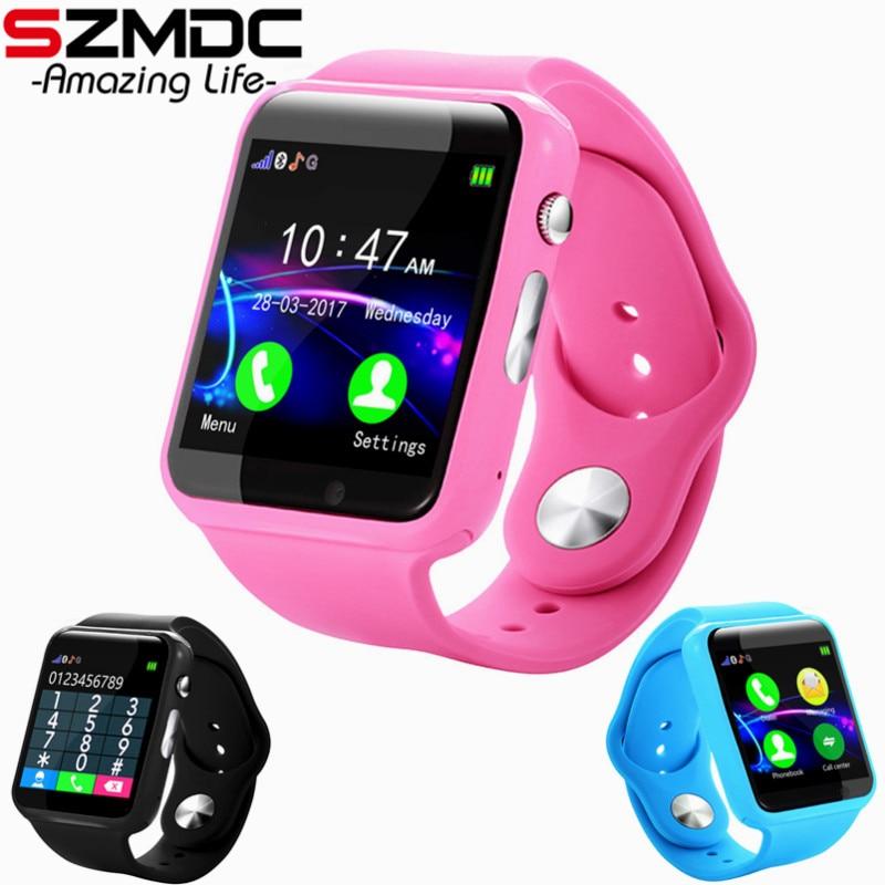 Caliente inteligente reloj Bluetooth A1S soporte SIM TF tarjetas para Android IOS teléfono los niños Cámara mujeres reloj de Bluetooth con Rusia