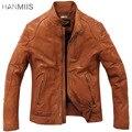 Hanmiis la vendimia de hombre cuero genuino de la zalea cuero ropa de la motocicleta chaqueta chaqueta de cuero para hombre