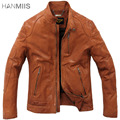 Hanmiis men's vintage genuine leather sheepskin motorcycle clothing leather jacket male leather jacket
