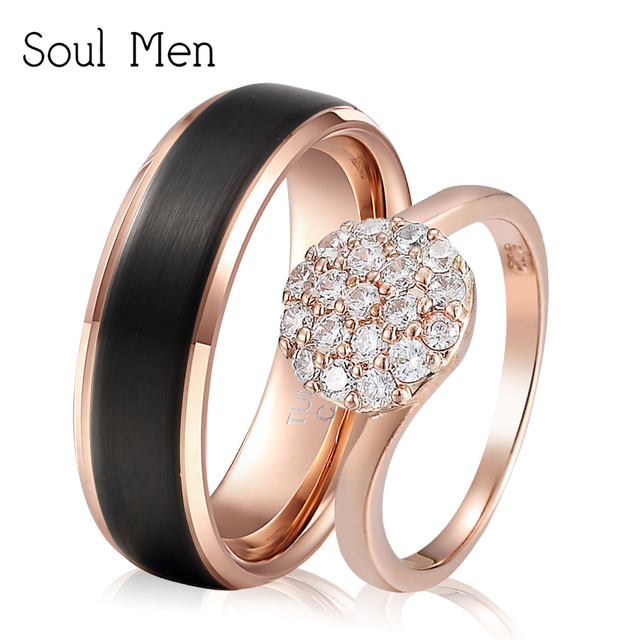 US $16 16 23% OFF|Soul Men 1 Pair Black Rose Gold Color Engagement Band 8mm  Durable for Boy Big CZ Style for Girl Couples Promised Rings Set-in